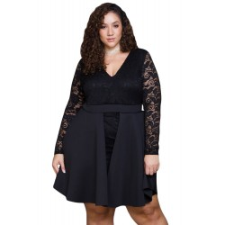 Bordowa midi Erica Plus Size