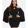 Czarna trapezowa midi z cekinami Ashley Plus Size
